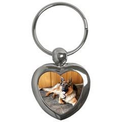 German Shepherd Laying 2 Key Chains (Heart)