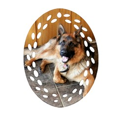 German Shepherd Laying 2 Oval Filigree Ornament (Two Sides)