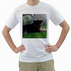 German Shepherd Puppy Laying 2 Men s T-Shirt (White) (Two Sided)