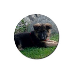German Shepherd Puppy Laying 2 Rubber Coaster (Round)