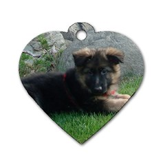 German Shepherd Puppy Laying 2 Dog Tag Heart (One Side)