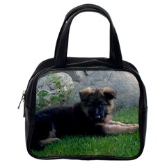 German Shepherd Puppy Laying 2 Classic Handbags (One Side)