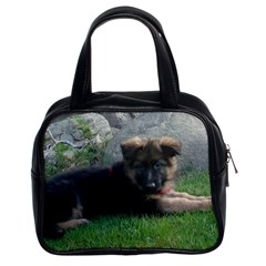 German Shepherd Puppy Laying 2 Classic Handbags (2 Sides)