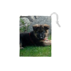 German Shepherd Puppy Laying 2 Drawstring Pouches (Small)