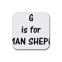 G Is For German Shepherd Rubber Square Coaster (4 pack)
