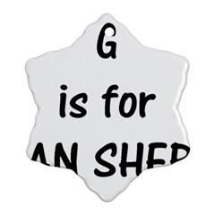 G Is For German Shepherd Ornament (Snowflake)