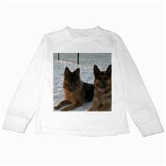 2 German Shepherds Kids Long Sleeve T-Shirts
