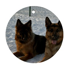 2 German Shepherds Round Ornament (Two Sides)