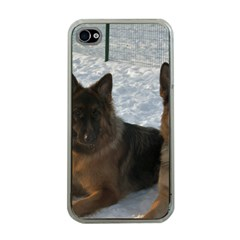 2 German Shepherds Apple iPhone 4 Case (Clear)