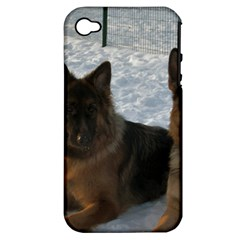 2 German Shepherds Apple iPhone 4/4S Hardshell Case (PC+Silicone)