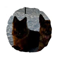 2 German Shepherds Standard 15  Premium Round Cushions