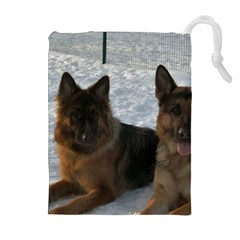 2 German Shepherds Drawstring Pouches (Extra Large)