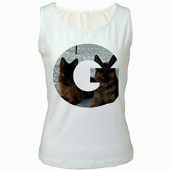 2 German Shepherds In Letter G Women s White Tank Top