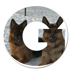 2 German Shepherds In Letter G Magnet 5  (Round)