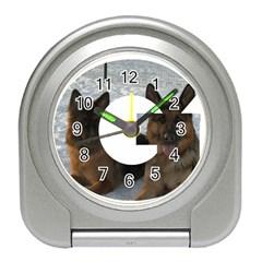 2 German Shepherds In Letter G Travel Alarm Clocks