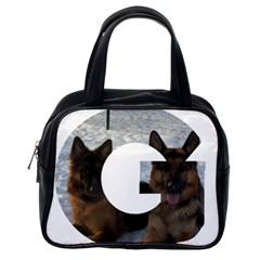 2 German Shepherds In Letter G Classic Handbags (One Side)