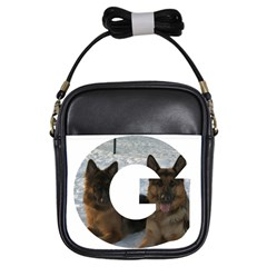 2 German Shepherds In Letter G Girls Sling Bags