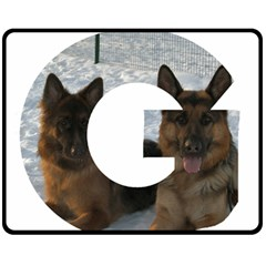 2 German Shepherds In Letter G Fleece Blanket (Medium)