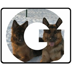 2 German Shepherds In Letter G Double Sided Fleece Blanket (Medium)