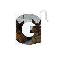 2 German Shepherds In Letter G Drawstring Pouches (Small)