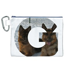 2 German Shepherds In Letter G Canvas Cosmetic Bag (XL)