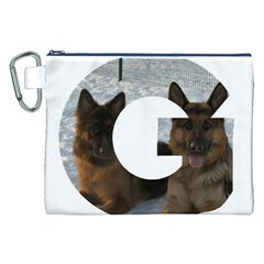 2 German Shepherds In Letter G Canvas Cosmetic Bag (XXL)
