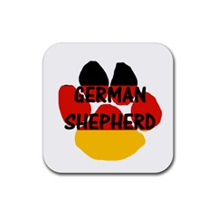 German Shepherd Name Paw Germany Flag Paw Rubber Square Coaster (4 pack)
