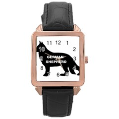 German Shepherd Name Silo Rose Gold Leather Watch