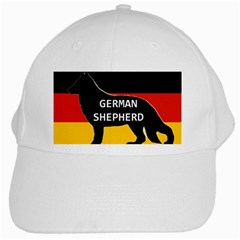 German Shepherd Name Silhouette On Flag Black White Cap