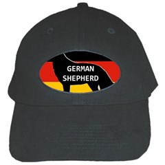 German Shepherd Name Silhouette On Flag Black Black Cap