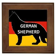 German Shepherd Name Silhouette On Flag Black Framed Tiles