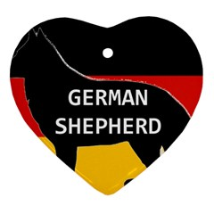 German Shepherd Name Silhouette On Flag Black Ornament (Heart)
