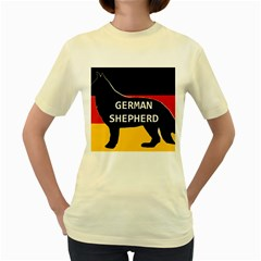 German Shepherd Name Silhouette On Flag Black Women s Yellow T-Shirt