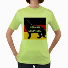 German Shepherd Name Silhouette On Flag Black Women s Green T-Shirt