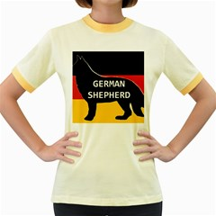 German Shepherd Name Silhouette On Flag Black Women s Fitted Ringer T-Shirts