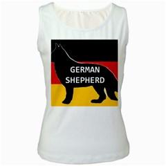 German Shepherd Name Silhouette On Flag Black Women s White Tank Top