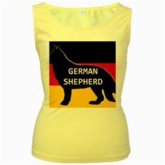 German Shepherd Name Silhouette On Flag Black Women s Yellow Tank Top