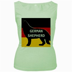 German Shepherd Name Silhouette On Flag Black Women s Green Tank Top