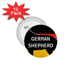 German Shepherd Name Silhouette On Flag Black 1.75  Buttons (10 pack)