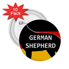 German Shepherd Name Silhouette On Flag Black 2.25  Buttons (10 pack)