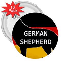 German Shepherd Name Silhouette On Flag Black 3  Buttons (10 pack)