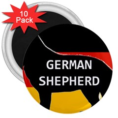German Shepherd Name Silhouette On Flag Black 3  Magnets (10 pack)