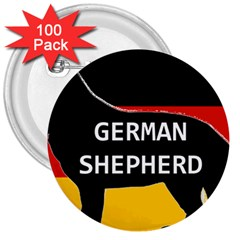 German Shepherd Name Silhouette On Flag Black 3  Buttons (100 pack)