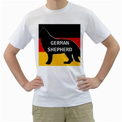 German Shepherd Name Silhouette On Flag Black Men s T-Shirt (White) (Two Sided)