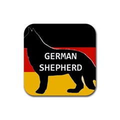 German Shepherd Name Silhouette On Flag Black Rubber Square Coaster (4 pack)