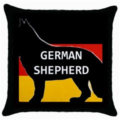German Shepherd Name Silhouette On Flag Black Throw Pillow Case (Black)