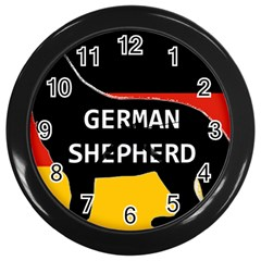 German Shepherd Name Silhouette On Flag Black Wall Clocks (Black)
