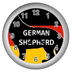 German Shepherd Name Silhouette On Flag Black Wall Clocks (Silver)