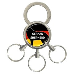 German Shepherd Name Silhouette On Flag Black 3-Ring Key Chains