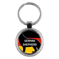 German Shepherd Name Silhouette On Flag Black Key Chains (Round)